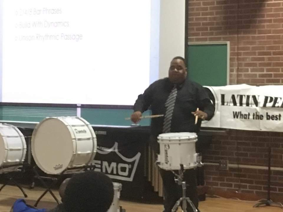 Fred Dunlap III of Johnson C Smith University giving a clinic on writing for marching percussion