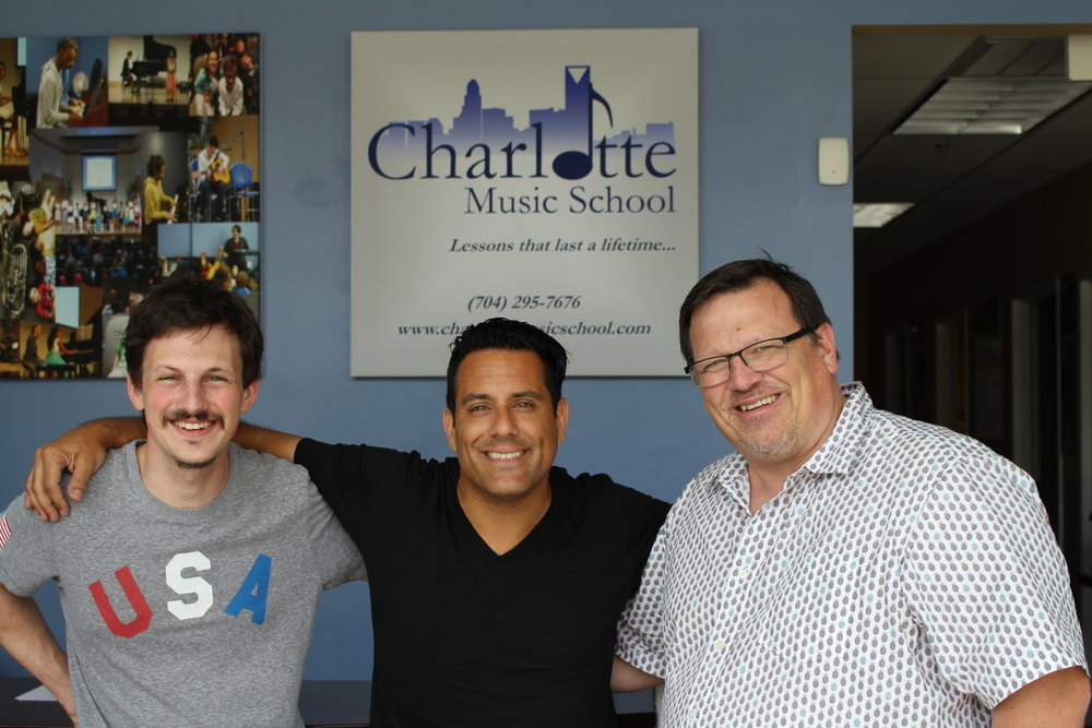 Philip Yates (Piano Instructor/Drum Student), Rich Redmond, Mark Norman (Owner of Charlotte Music School)