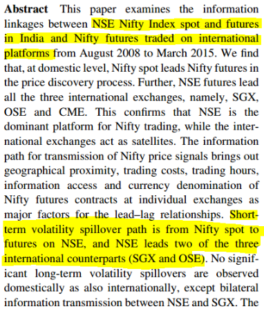 Domestic and international information linkages between NSE Nifty spot and futures markets: an empirical study for India Sanjay Sehgal Mala Dutt
