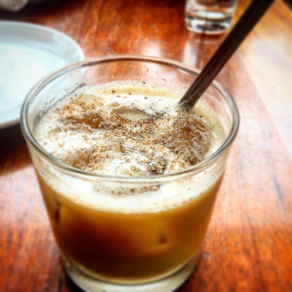 Alder Milk Punch --  cognac. cold press coffee. cream. vanilla. demarrera