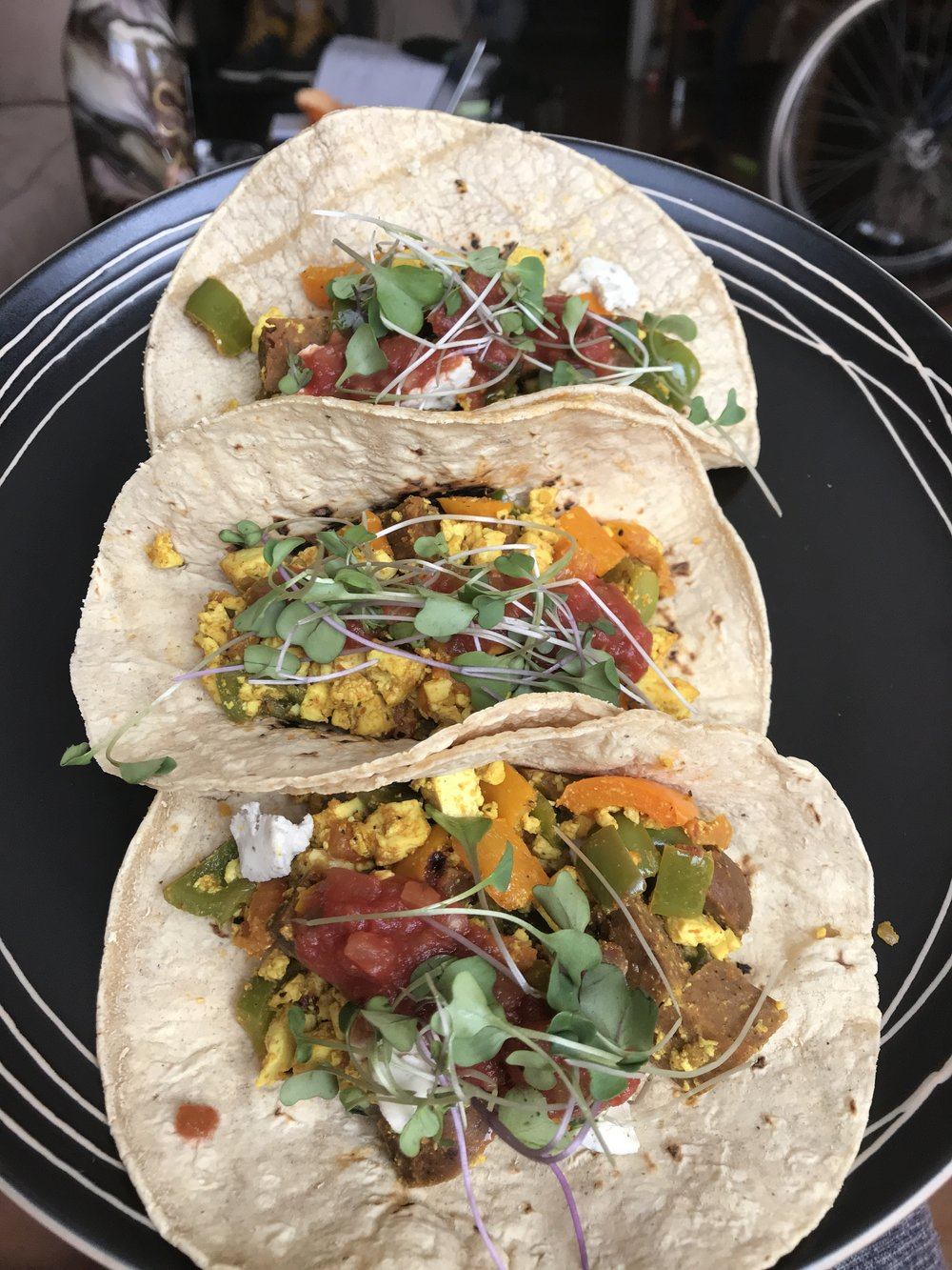 Strong 4 Pole's Vegan Breakfast Tacos