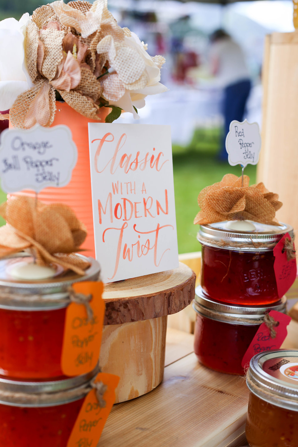 The Klapp Farm jelly display featuring calligraphy by  Lettering by Ruby