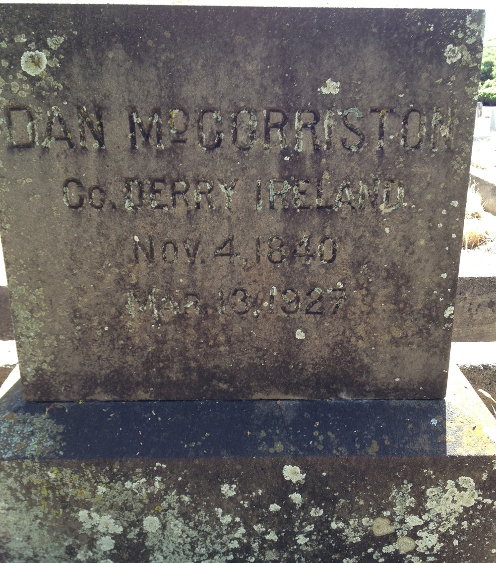 Headstone of Daniel McCorriston