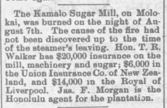 The Kamalo Sugar Mill burned down, 1891