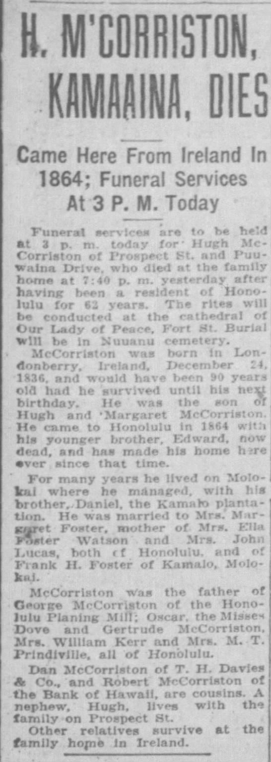 Obituary of Hugh McCorriston