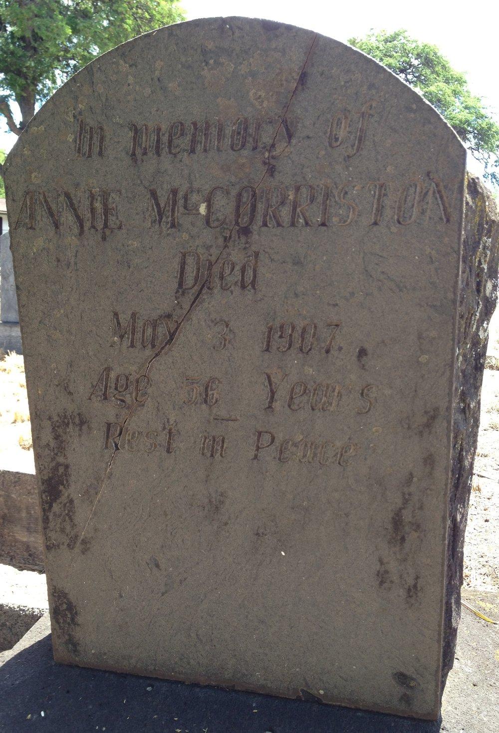 Annie Nelson McCorriston's Headstone, Kamalo
