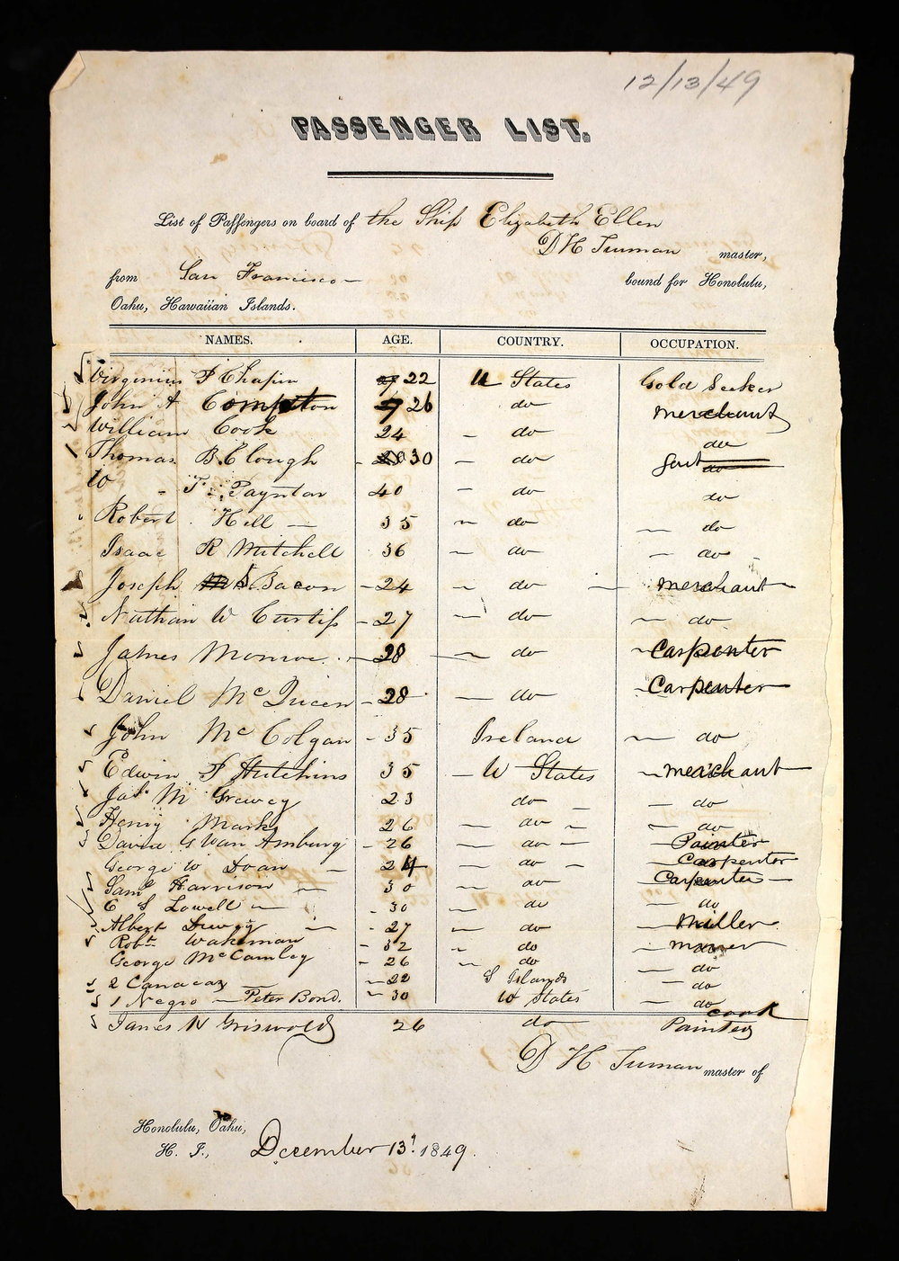 John McColgan on the Manifest for the Elizabeth Ellen, 1849