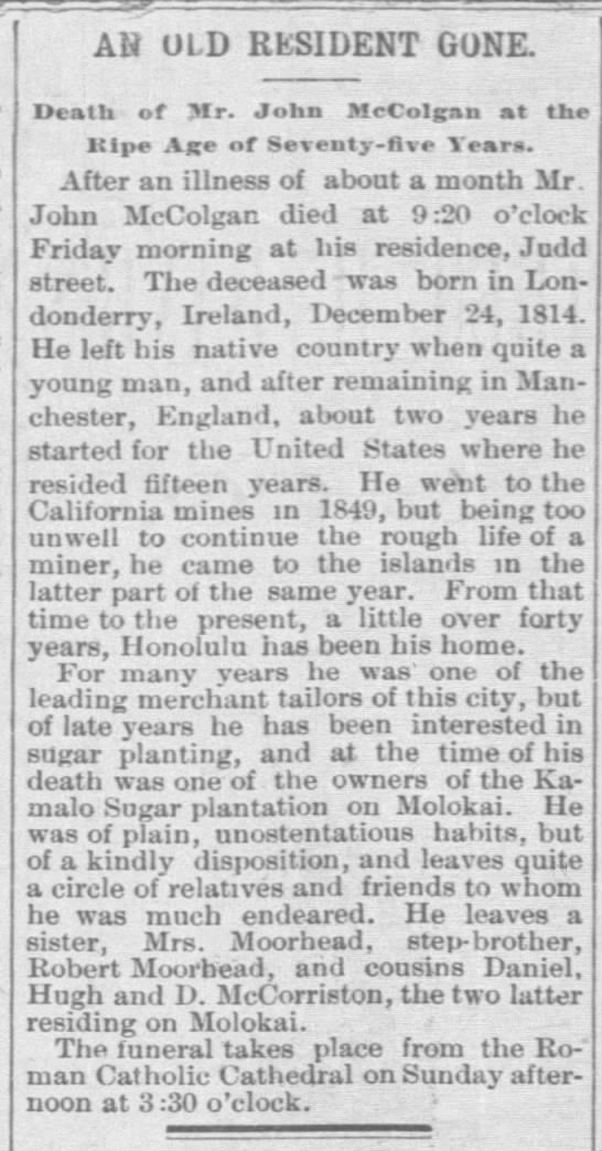 Obituary of John McColgan, 1890