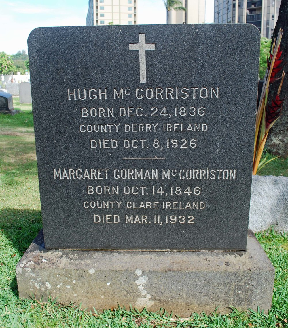 Headstone of Margaret Gorman McCorriston, 1932