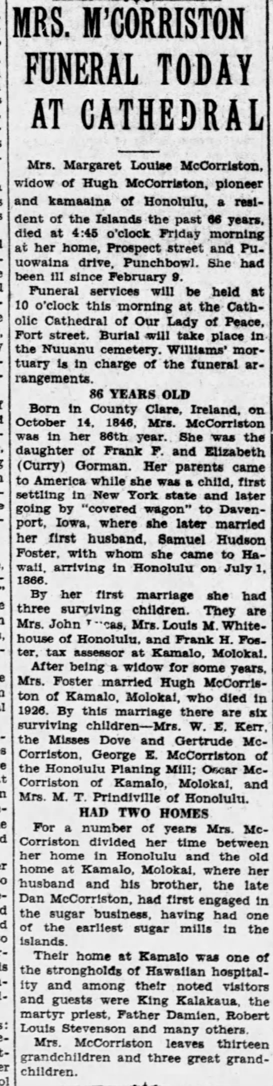 Obituary of Margaret Louise Gorman Foster McCorriston, 1932