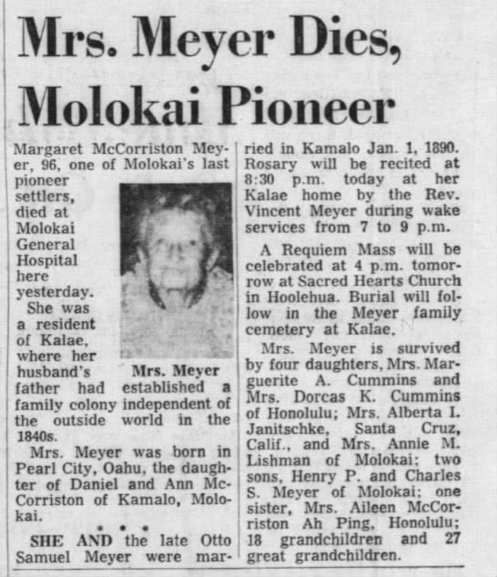Obituary of Margaret McCorriston Meyer, 1963
