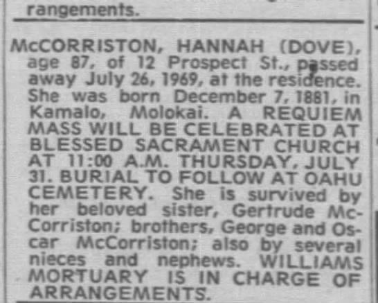 Obituary for Hannah McCorriston, 1969