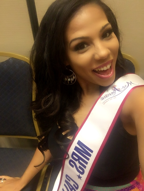 Mrs. California is all smiles at Mrs. America rehearsal