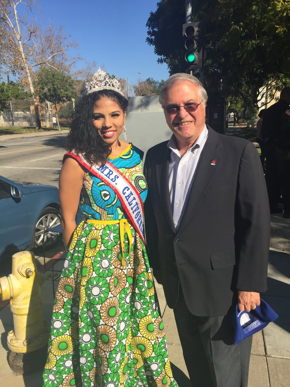 Mrs. California America with Pasadena City Mayor Terry Tornek at the 36th Annual Black History Parade