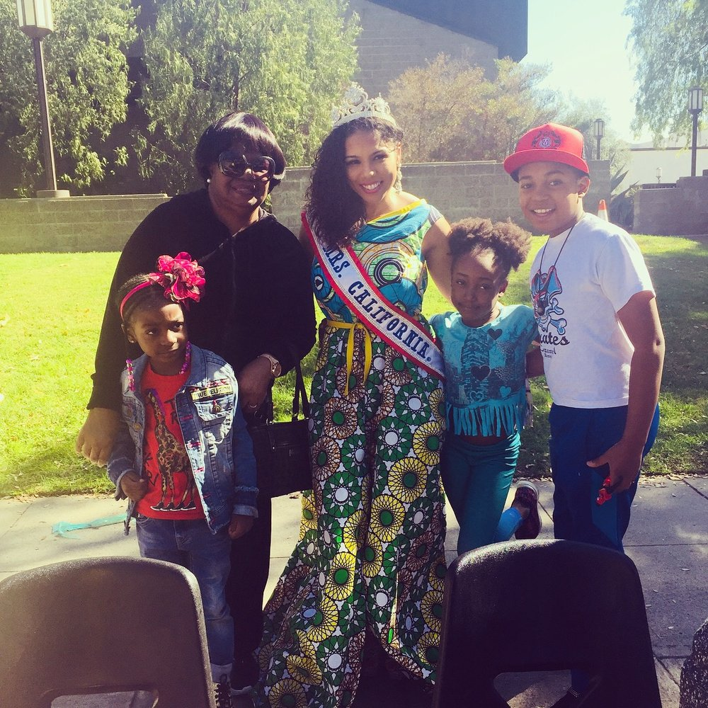 Mrs. California on the parade route at the Pasadena Black History Parade