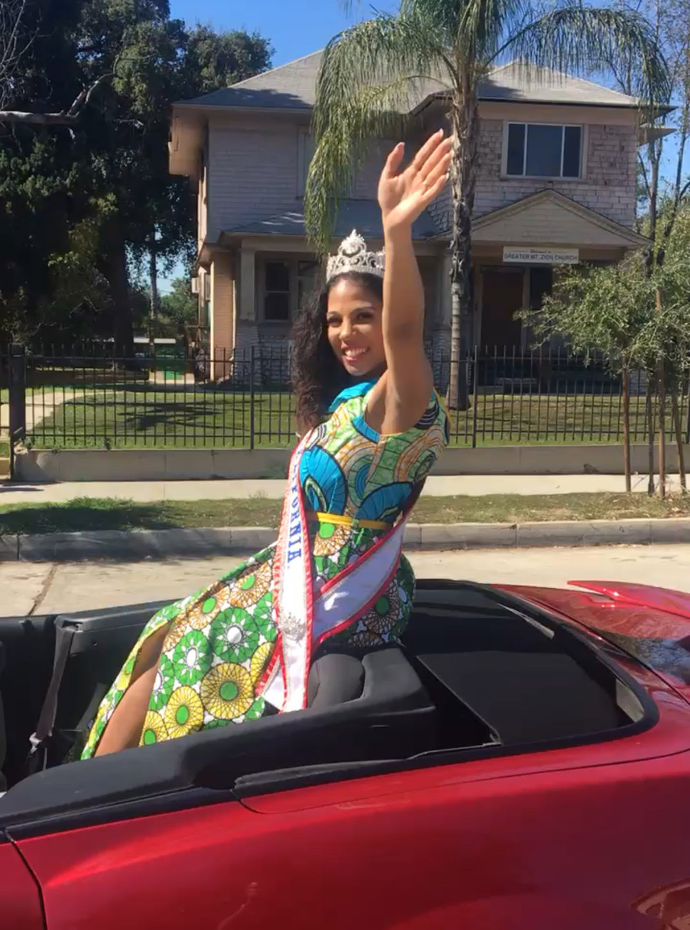 Mrs. California on the parade route in the 36th Annual Pasadena Black History Parade
