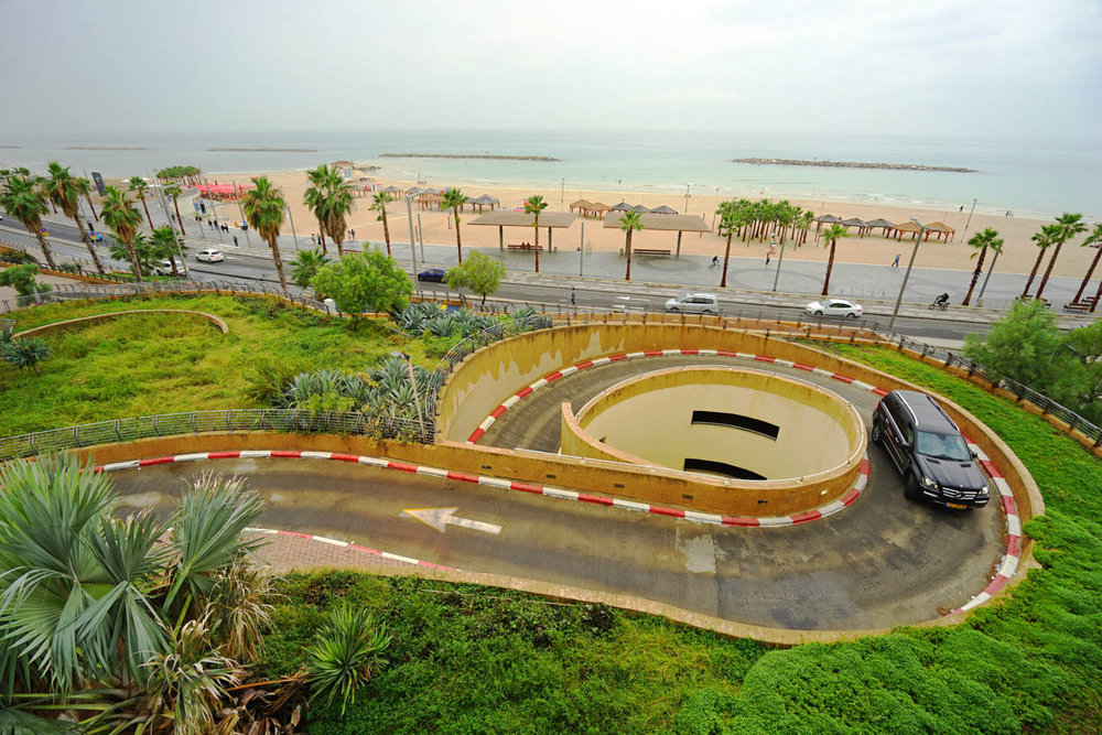 Tel Aviv beach, seaside promenade, architecture, curving road