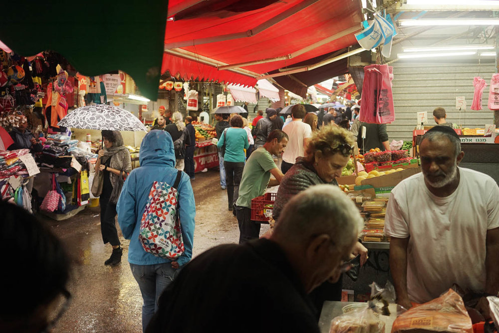 Tel Aviv market, people in the city