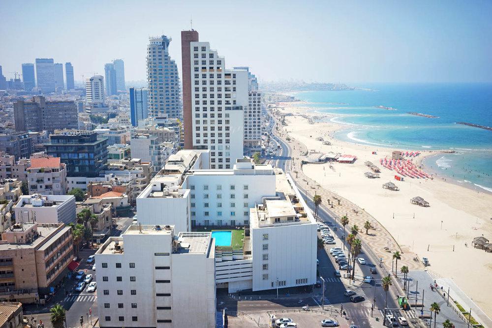 Tel Aviv Jaffa, view from above, city architecture, beach