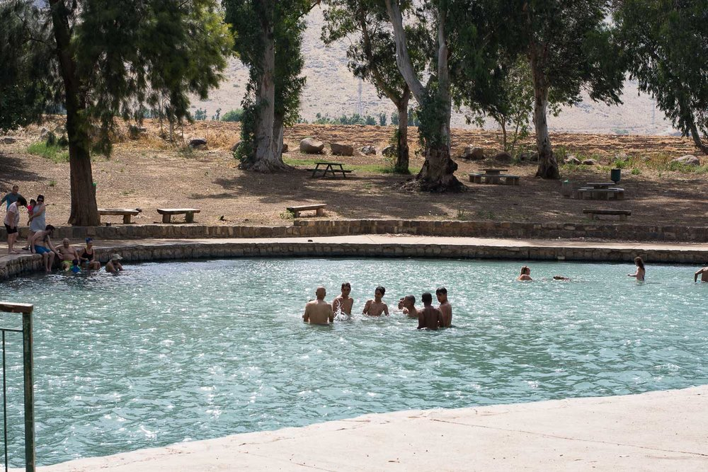 Park Emek Ha-Maayanot, springs valley, children playing in the water, pond, hot day, Gilboa mountain, boys in the water