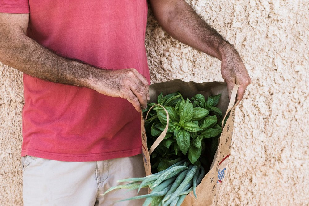 organic greens, organic basil in a bag, paper bag with greens