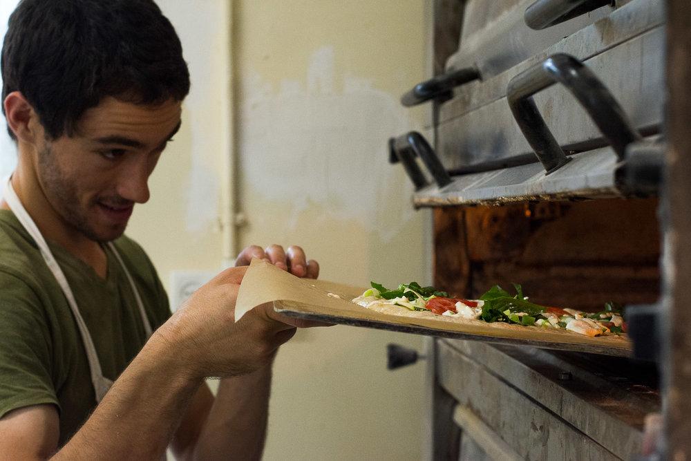 Ovdey Adama, bakery, sourdough, baker, Beit Hashita, bread maker, into the oven, focaccia bread