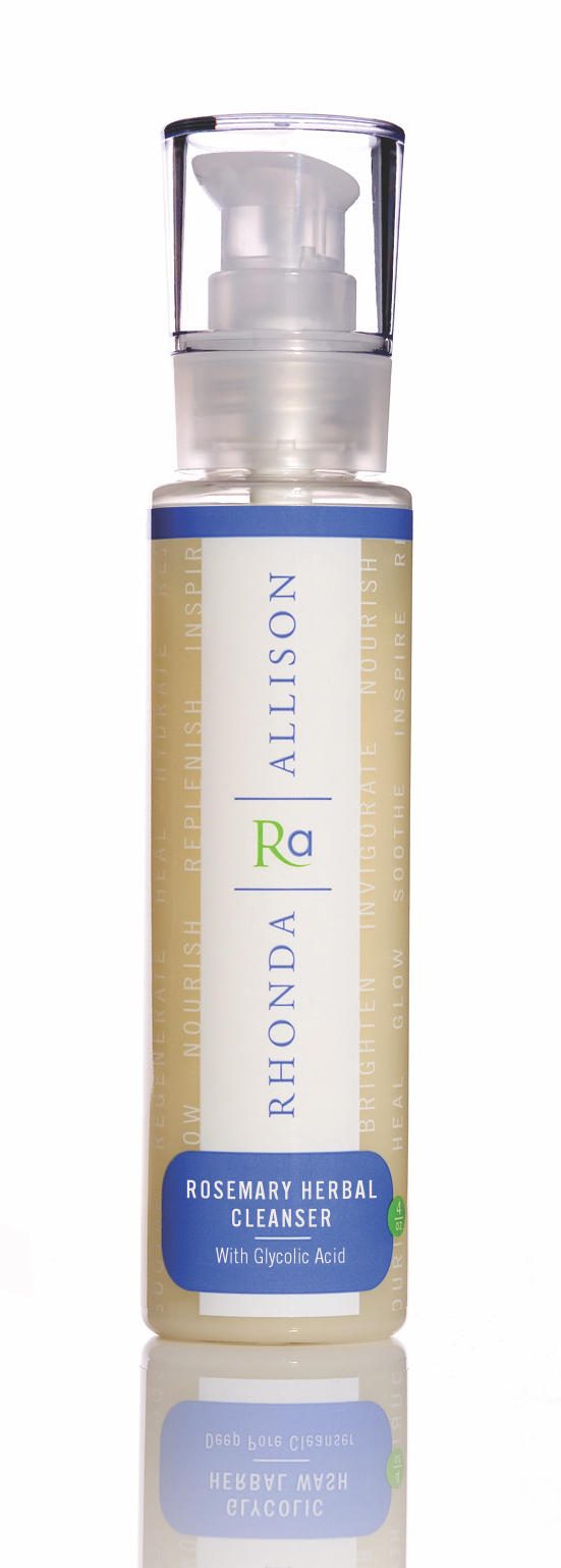 Rosemary Herbal Cleanser   Description  We are giving a long-time favorite a bit of an uplift and re-emphasizing its herbal essence. Rhonda Allison's Rosemary Herbal Cleanser has been enhanced with a natural sugar surfactant, adding more lathering capabilities.