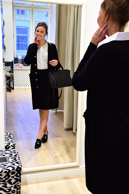 Nice Cardigan & Marmasse Skirt, Busnel    Shirt, Sleek Atelier /Shoes & Bag, ATP Atelier