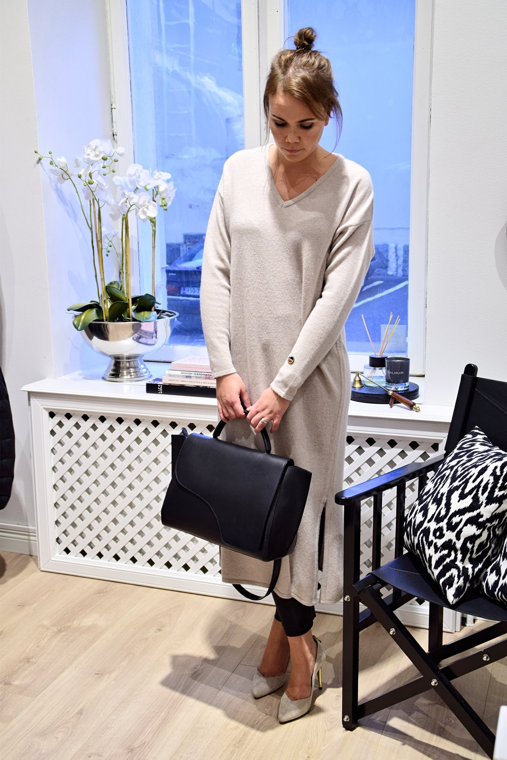 Gráces Dress, Busnel                                         Leather Pants, By Malene Birger / Bag, ATP Atelier / Shoes, afKlinberg