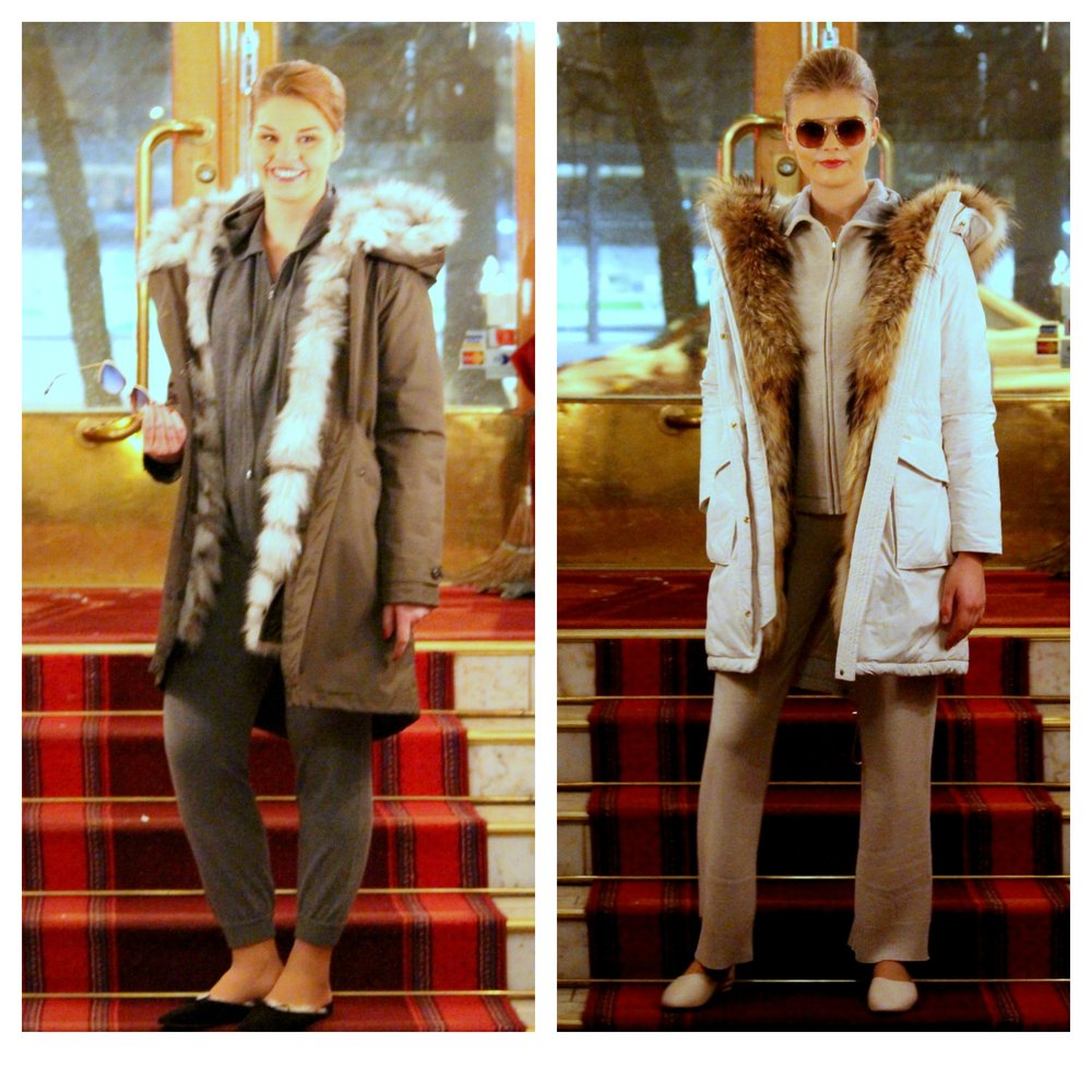 Woolrich coats, Repeat Cashmere & Busnel cashmere hoodie & pants, Flattered indoor flats