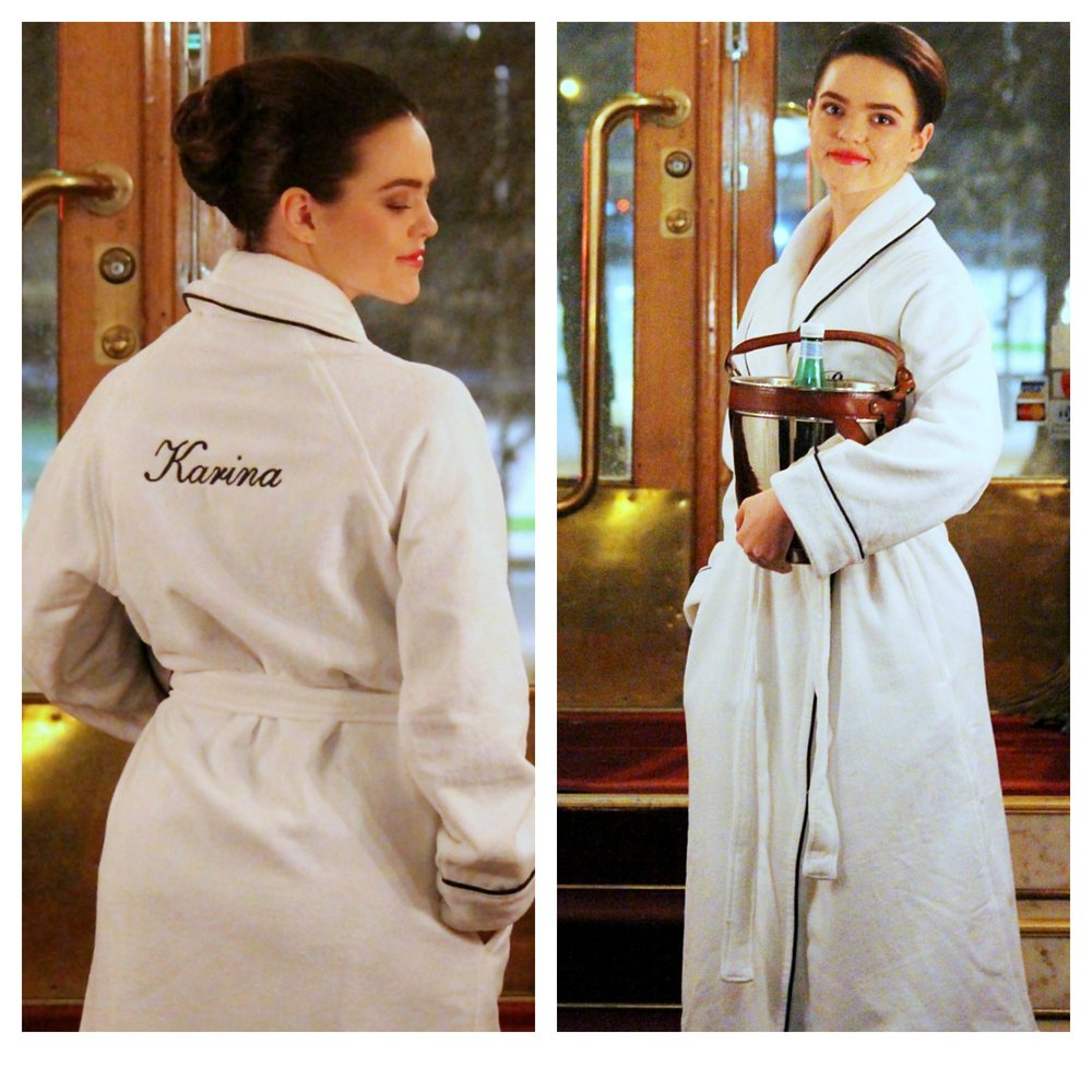 Balmuir bathrobe with monogram & champagne cooler