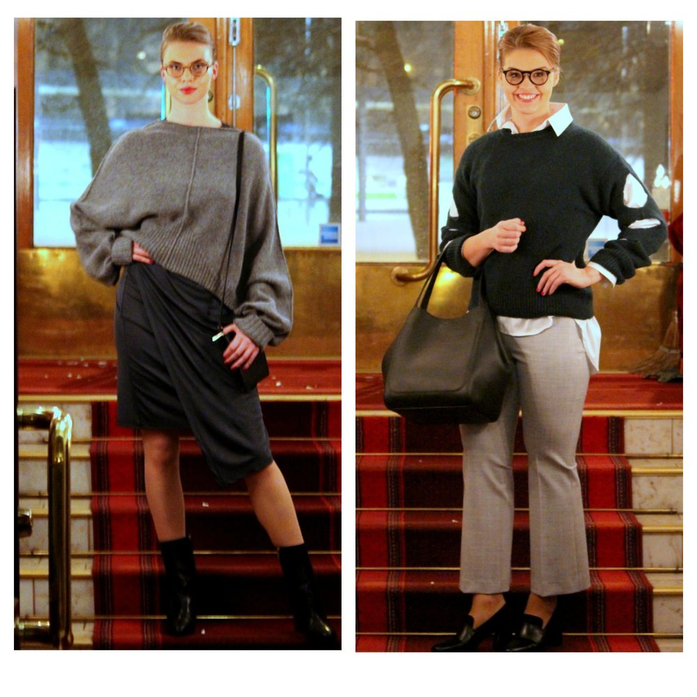 House of Dagmar knits & dress, Filippa K bags & trousers, Sleek Atelier shirt, ATP Atelier shoes