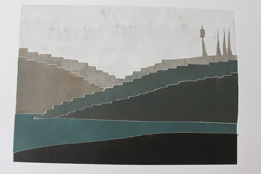 View of Camlica Hill , 30x40cm, monoprint