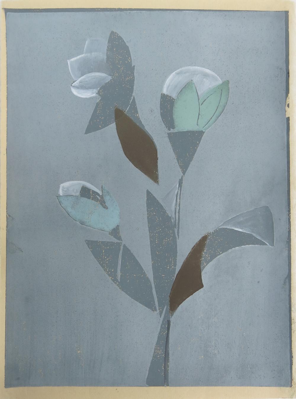 Flowers in a Window II    2016, lino print & gouache, 21 x 15cm