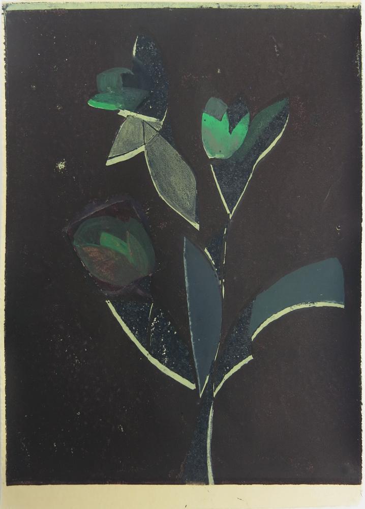 Flowers in a Window III    2016, lino print & watercolour, 22 x 15cm