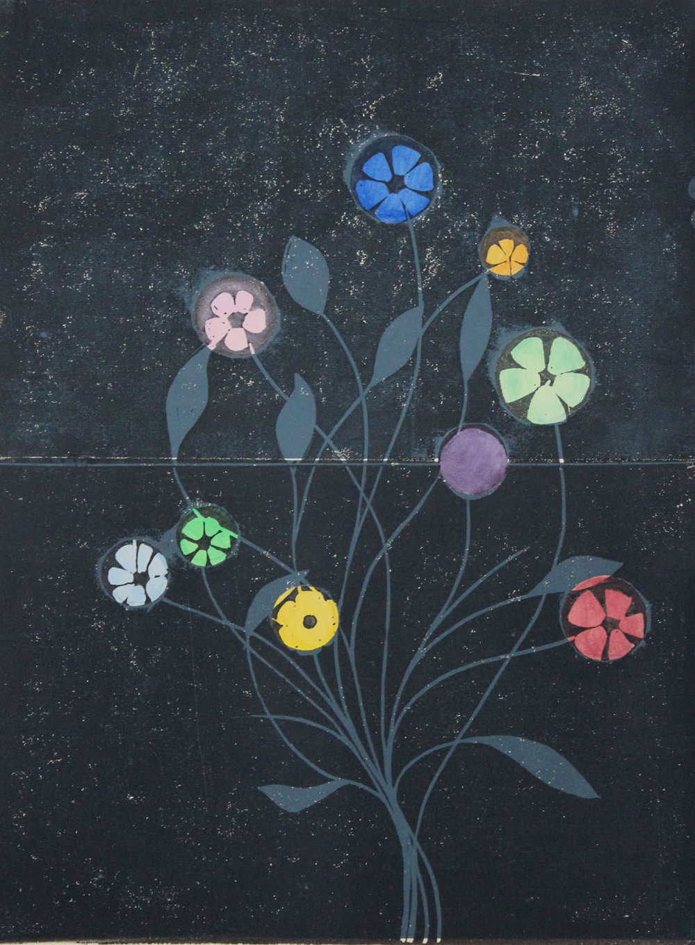 Metal Flowers I    2015, lino print and watercolour, 40 x 30cm