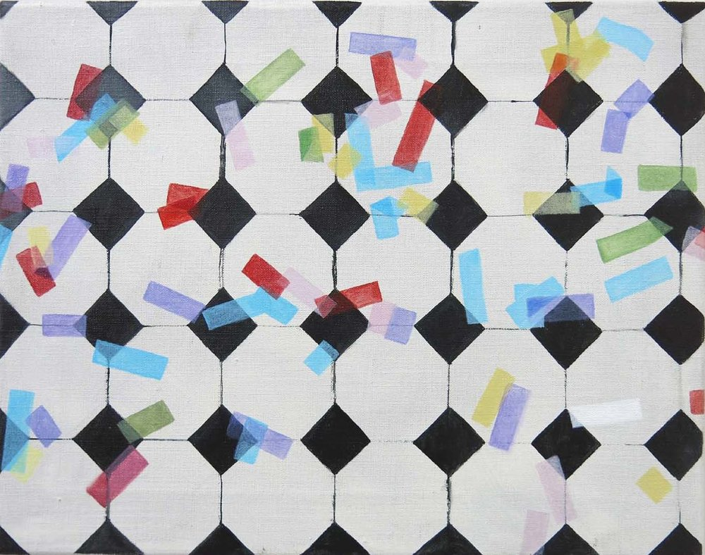 Tiles & Coloured Paper    2017, oil on canvas, 33 x 42cm