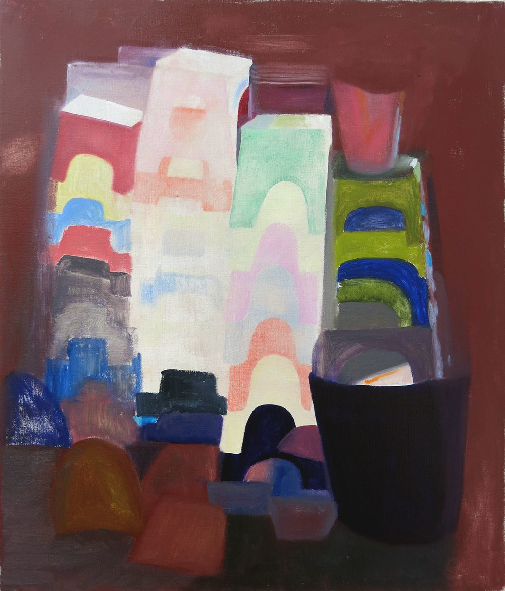 Stacked Stools, Dustpans & Buckets at Night    2017. oil on canvas, 71 x 60cm