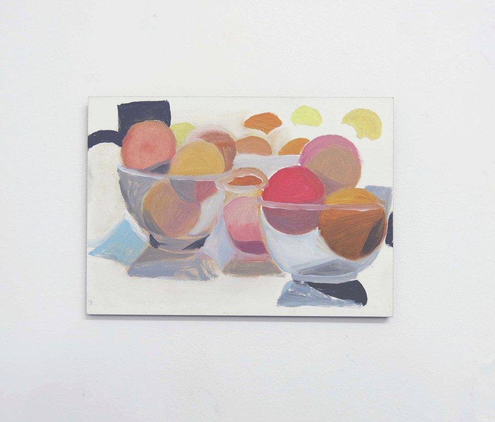 Fruit Bowls    2016, oil on board, 13 x 18cm