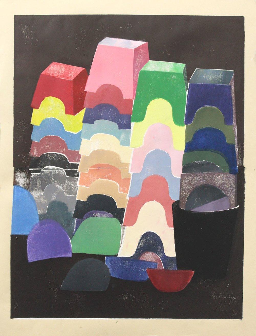 Stacked Stools, Dustpans & Bucket I  2017, Mono print linocut
