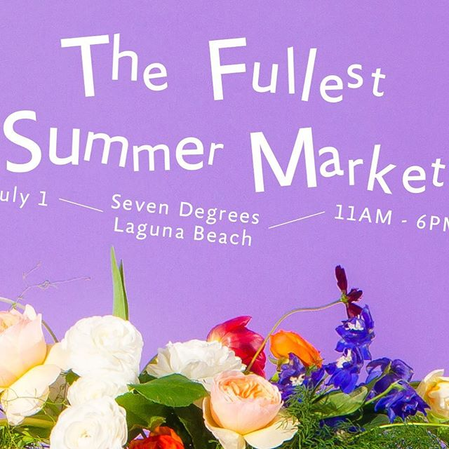 Get ready for The Fullest Summer Market! ⠀ ⠀ Featuring the work of over 25 independent makers and designers -- both local and global, The Summer Market is set to take place at Laguna Beach's Seven-Degrees on Sunday, July 1st from 11am to 6pm, it's free and open to the public and will feature the work of over 25  independent makers and designers, including us! 🙊⠀ ⠀ @TheFullestMag are combining design, art, good food and a fun community spirit under one awesome roof at Seven-Degrees in Laguna Beach, and @lovesuja and @chareauspirit will be sponsoring the event and providing drinks… so come have a juice or cocktail with us and get your summertime splurge on!