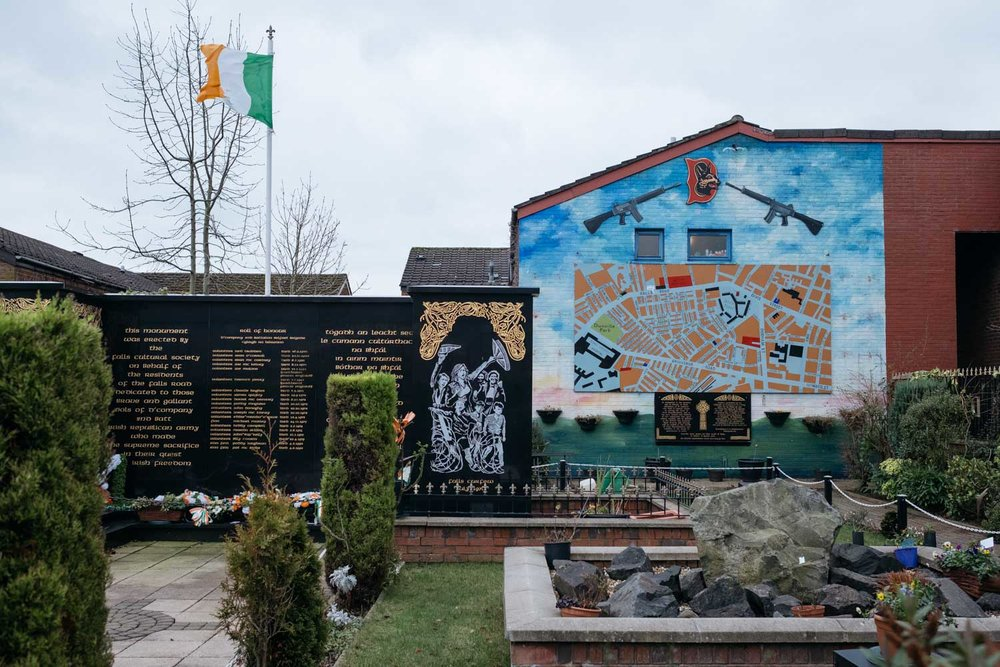 A memorial to dead Irish Republican Army volunteers along Falls Road.