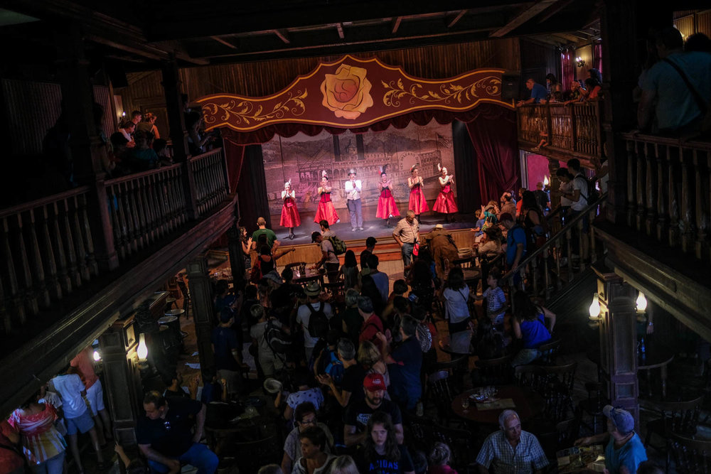 Can-can dancers perform at the Yellow Rose Saloon.