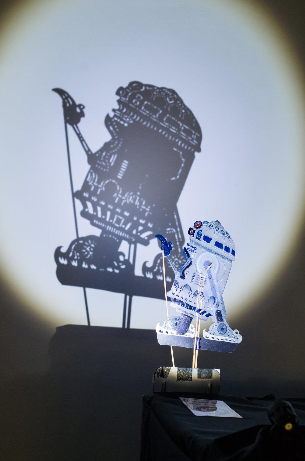Wayang kulit puppet of R2-D2. (Photo by Teh Take Huat.)