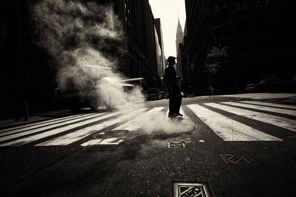 Escaping steam from underground system in New York