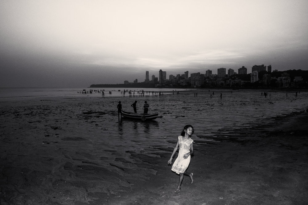Girl on Chowpatty Beach Mumbai India for National Geographic