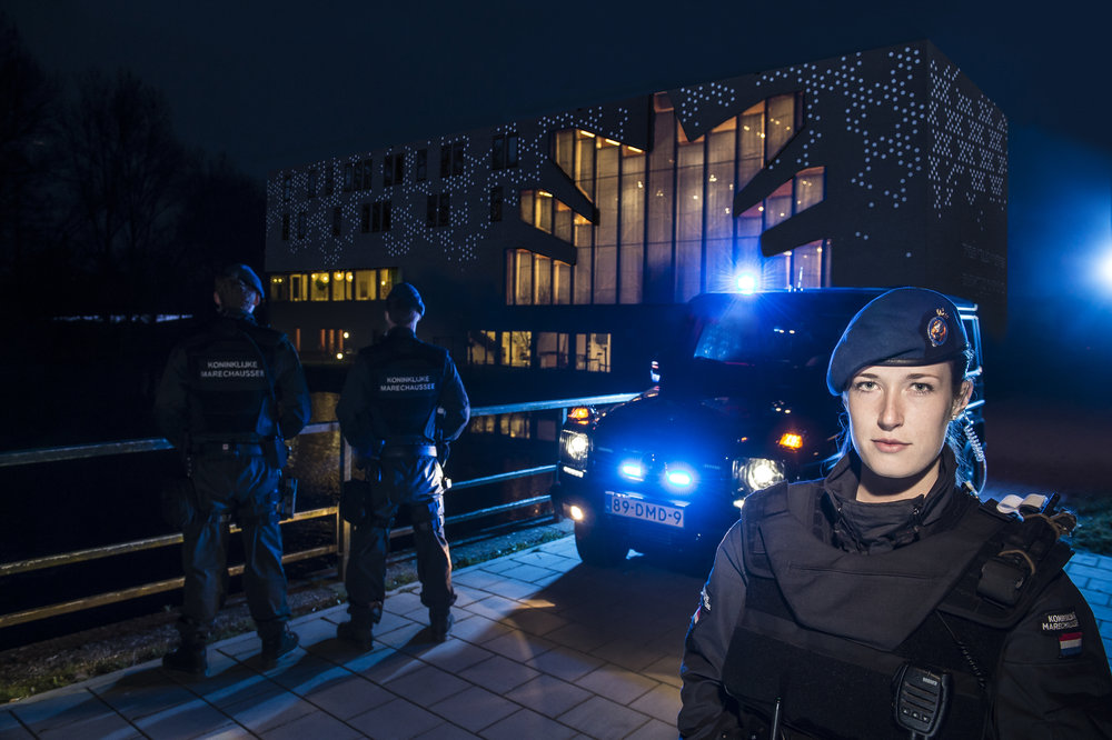 Dutch Military Police guarding high risk property