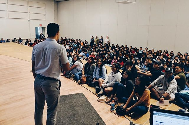 I use to write letters to my future self. Now, I tour and speak to Latinx students who look like a younger me. Life is so ironic, and yet so beautiful! Grateful for these moments. 🙏🏽