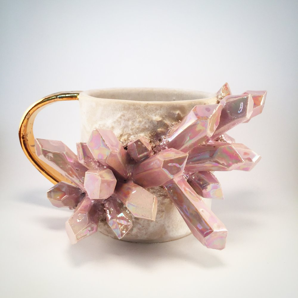 ⭐️⭐️⭐️⭐️⭐️ - Collin worked with me to ensure that I had the mug of my dreams. The colour of the crystals matches my hair, and Collin made it a point to find out what kind of piece I wanted. When it arrived, it was lovingly packed, a difficult feat with something so intricate. The weight of the piece shows the immense dedication of the artist. I am ever-grateful, and am eager to procure another piece from Collin. An exquisite experience with kind extra touches and communication. Merci.-Jewel