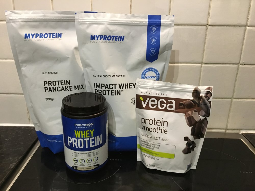 Pancake mix and chocolate whey from  MyProtein , Vega protein from  Amazon  but found at Whole Foods in the States (WHOLE FOODS PLEASE COME TO EDINBURGH I'M BEGGING YOU!), Vanilla protein from  Holland & Barrett